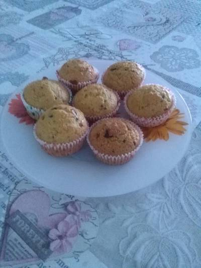 Magdalenas de calabaza con chispas de chocolate(bajas en azúcar)