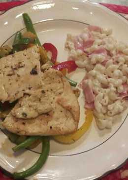 Salpicón de verduras con pollo a las hierbas y coditos