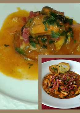 Mejillones en salsa, con toque de grasse de canard y jamón