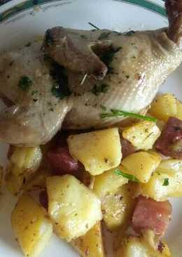 Codornices con patatas y panceta