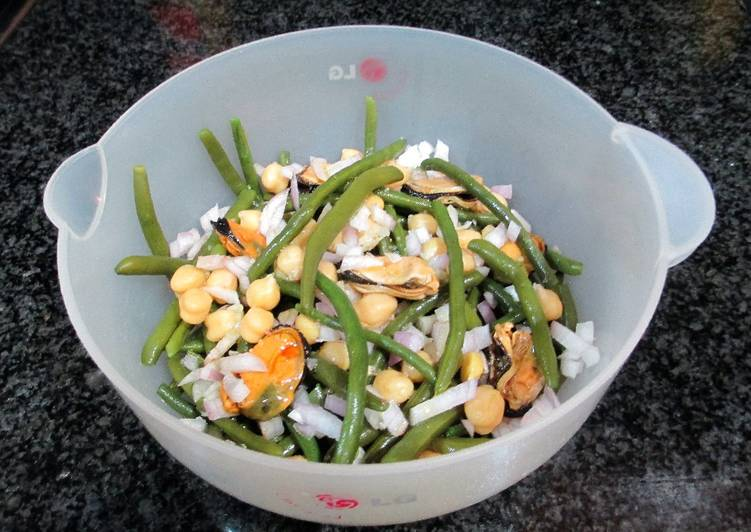 Ensalada de jud as verdes redondas con garbanzos y for Cocinar judias verdes