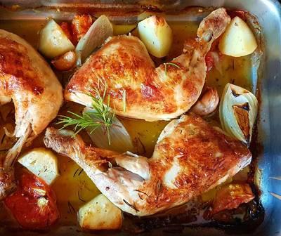 Pollo al horno con verduras