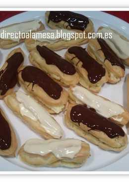 Eclairs de crema y chocolate