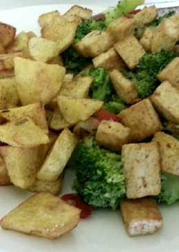 Plato combinado de tofu -vegano