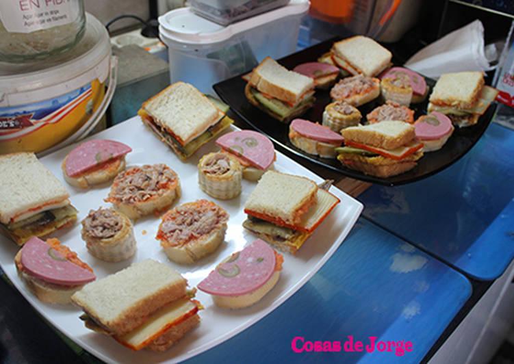 Sandwich de tortilla, queso y anchoas