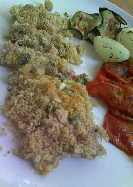 Salmonetes con provenzal de alcaparras y aceitunas negras y verduras al horno