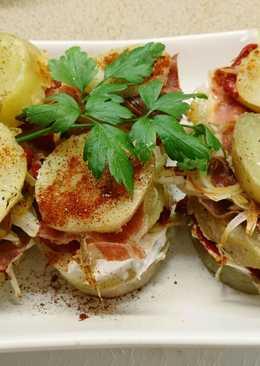 Milhojas de patata y jamón