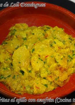 Patatas fritas al ajillo con azafrán (Cocina tradicional)