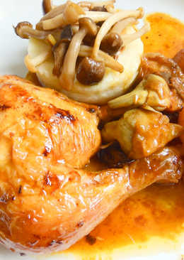 Pollo al horno con manzana y parmentier de patata y setas