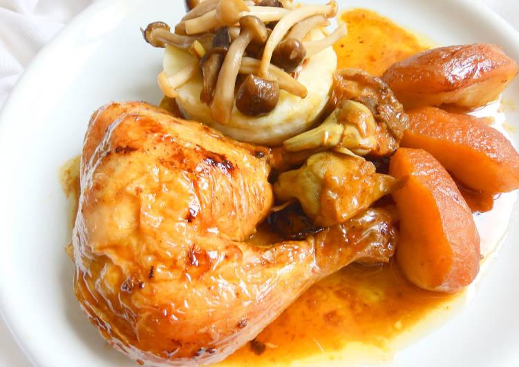 Pollo al horno con manzana y parmentier de patata y setas Receta de ...