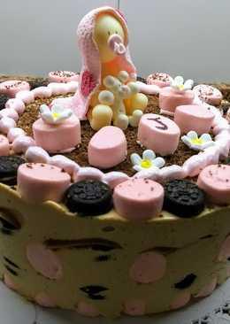 Torta helada dulce de leche, oreo y malvaviscos para babyshower
