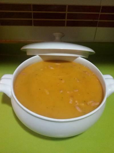 Sopa de fideua y garbanzos con thermomix
