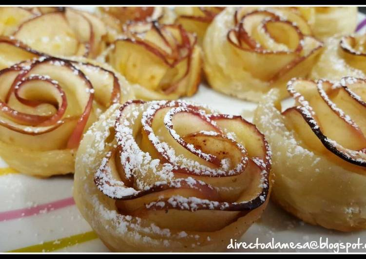 Rosas de manzana y hojaldre