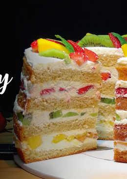 Naked Cake - Tarta desnuda de frutas y chantilly con mascarpone