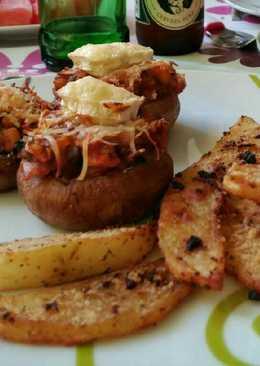 Champiñones rellenos con patatas al horno