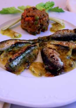 Sardinas al horno con vino blanco y pan rallado