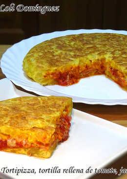 Tortipizza, tortilla rellena de tomate, jamón york y queso