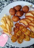 Combinado de fritos: manzana🍎 y plátano🍌 fritos🍳