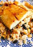 Corvina con arroz frito y tomate seco🐟🍅🍚