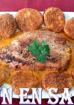 Lomo de atún en salsa de pimiento morrón
