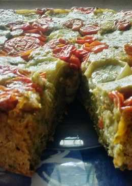 Pan cubierto con tomates asados