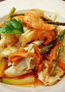 Dorada a la sal con verduras