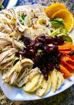 Ensalada variada con vinagreta de naranja