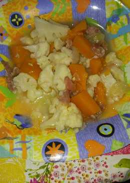 Col con calabaza, cebolla y jamón