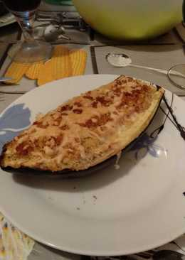 Berenjena rrellena de jamón York y queso