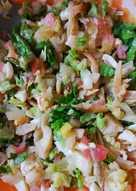 Ensalada de capellán seco (o bacalao) y limón