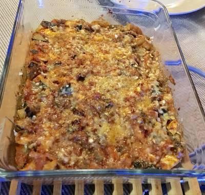 Verduras con pollo a la parmesana
