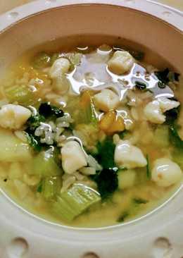Sopa de verdura y arroz integral