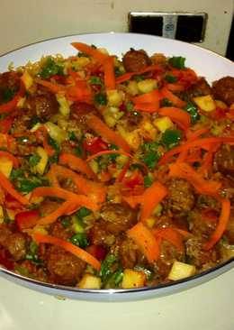 Arroz con chorizo y legumbres
