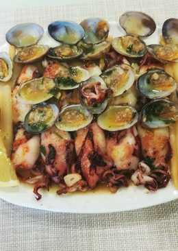 Almejas con calamares