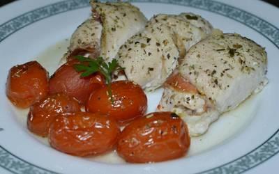 Rollitos de pollo con jamón serrano a la mostaza