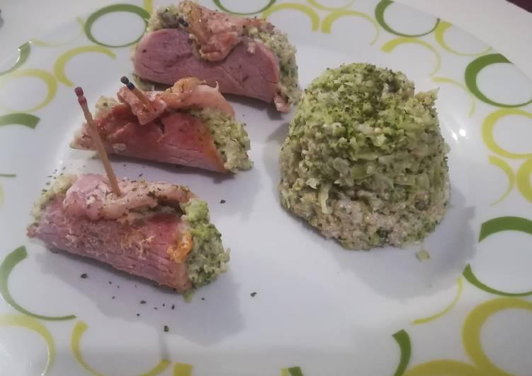 Rollitos de lomo rellenos de brócoli, quinoa y queso crema🐷🍚🌱