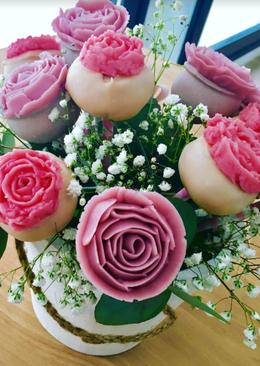 Cake pops en forma de rosa para San Valentín