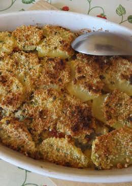 Gratinado de alcachofas y patatas con chorizo colorado