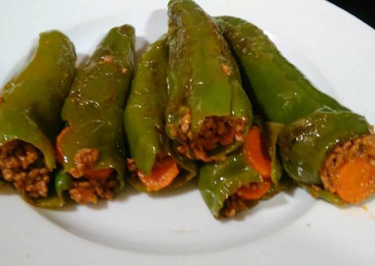 Pimientos Verdes Rellenos Sin Gluten Receta De Dama89 Cookpad