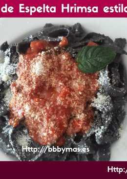 Cintas de espelta y sepia con salsa de albahaca B.B.B.