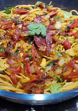 Espaguetis integrales sin lactosa con mucho color y sabor!💥🍝