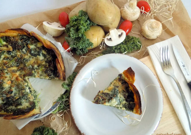 Quiche de col kale o col rizada receta de anna s tu for Cocinar kale sarten
