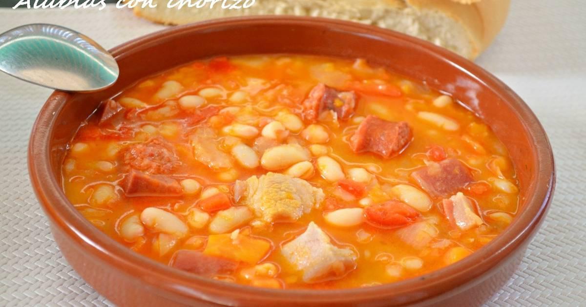 Alubias blancas cocidas con chorizo 17 recetas caseras - Judias con chorizo y patatas ...
