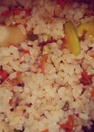 Arroz integral con tofu y verduras