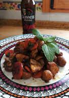 Pollo salteado al guinness (cerveza negra)