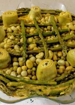 Verduras estofadas en crema de calabaza