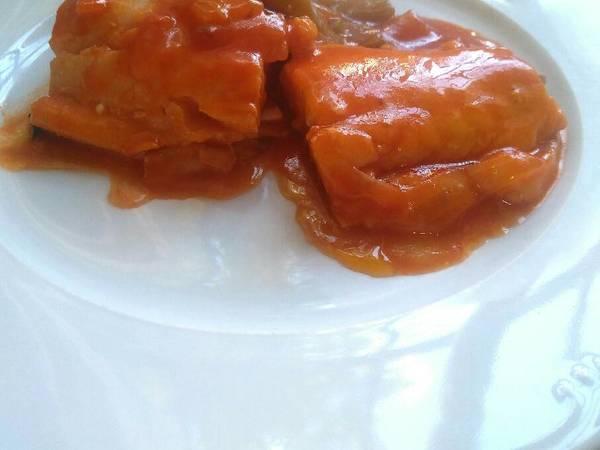 Bacalao con pimiento y tomate