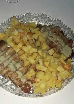 Secreto ibérico con patatas al Cabrales