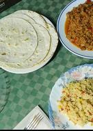 Fajitas con relleno de carne picada y arroz tres delicias!