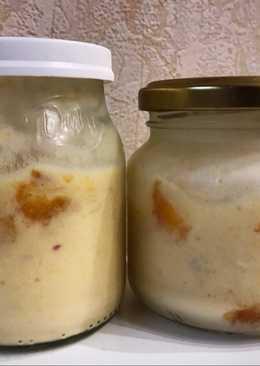 Yogur casero de durazno sin yogurtera light, natural, fácil y cremoso